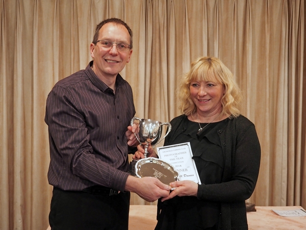 Jonathan Harrison from Harrison Cameras presenting Jill Davis with the 2014 Photographer of the Year Award at our annual dinner