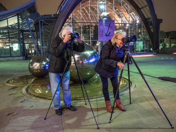 Members of Dronfield Camera Club on a trip to photograph Sheffield at night